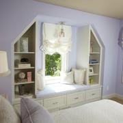 韩式浅紫色卧室飘窗装修效果图