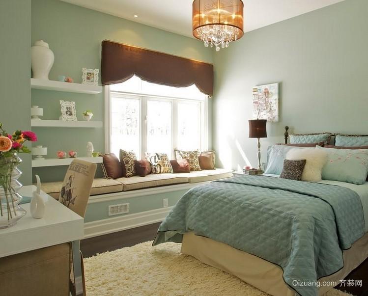 韩式清爽的卧室飘窗设计装修效果图