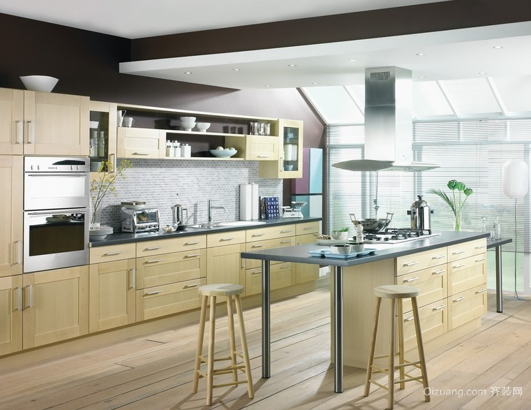 三居室韩式风厨房吧台设计装修效果图