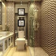 2016两室一厅韩式卫生间黑白瓷砖效果图