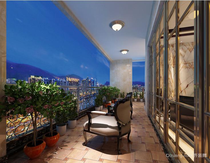 复式楼大型阳台古典设计装修效果图