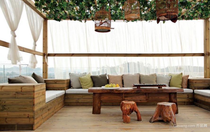 自然混搭别墅阳台榻榻米装修实景效果图