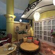 典雅温馨的别墅阳台设计装修效果图