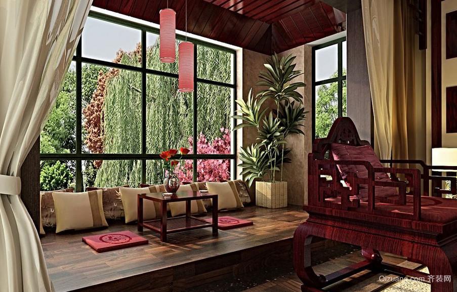 有格调的复古风阳台榻榻米装修设计图