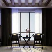 122平米古典风味的阳台设计装修效果图