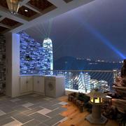 享受夜景的混搭风格阳台装修实景图片