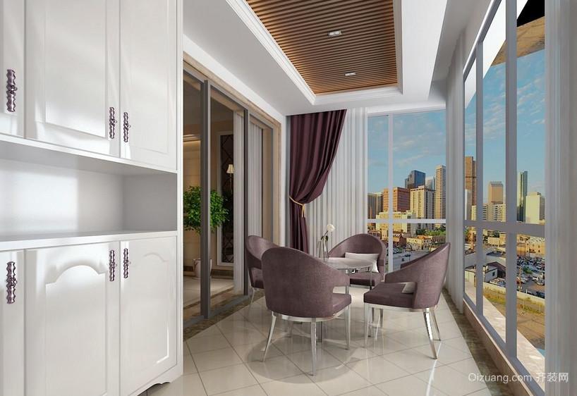简约法式三居室阳台装修实景效果图