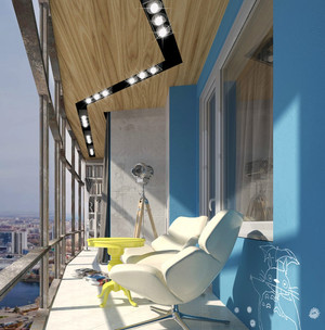 清爽北欧风小公寓阳台装修设计图