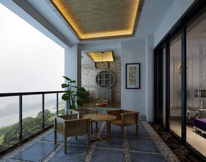 复古135平米家居大阳台装修设计效果图