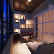 单身公寓浪漫简约阳台装修实景效果图