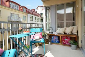 2016北欧风彩色小公寓阳台装修实景图片