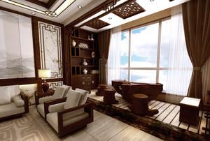 两居室复古中式风格阳台装修效果图片