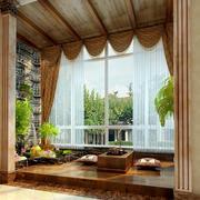78平米两居室复古日式风阳台装修图片