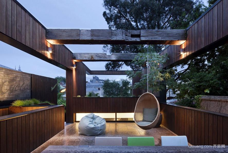 独栋别墅东南亚风实木阳台装修图片