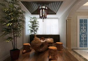 复古中式风两居室阳台装修设计效果图