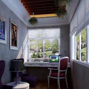 12平米阳台简欧风格书房装修效果图片