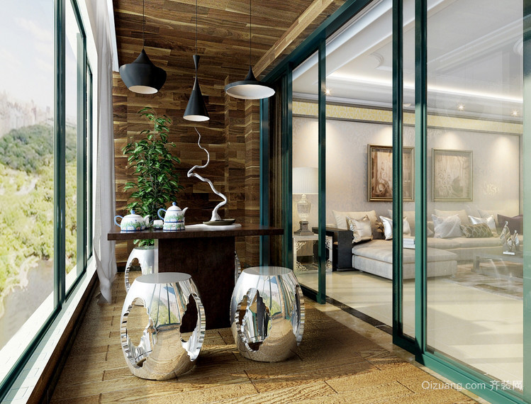 休闲娱乐的新古典风格阳台装修图片