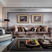 新古典客厅沙发背景照片墙设计效果图