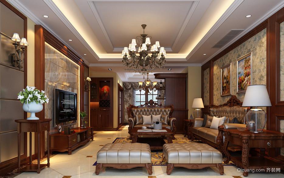 美式装修风格样板房客厅室内中装修效果图