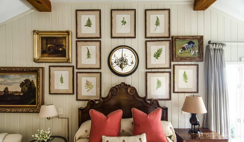 2016复古阁楼卧室床头照片墙设计效果图