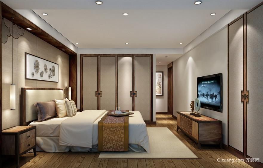 精致的现代中式别墅卧室装修效果图