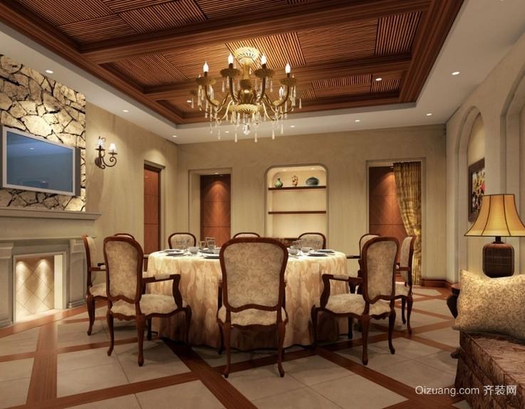 古典大户型餐厅吊顶装修设计效果图