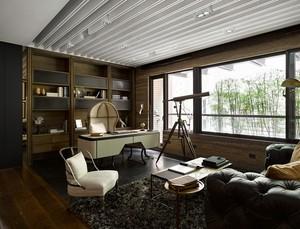 独栋别墅古典风格大书房设计装修效果图