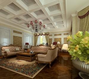 超大豪华别墅客厅古典吊顶装修设计效果图