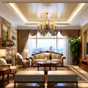 2016自建别墅古典风格客厅天花装修效果图
