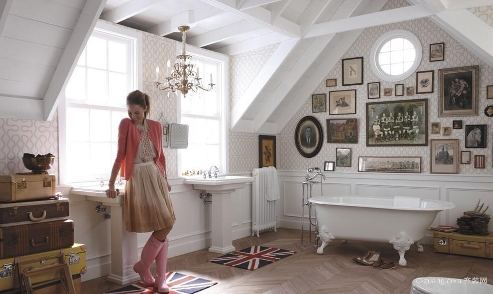 法式大户型卫生间照片墙设计效果图