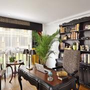 123㎡三居室复古书房设计装修效果图