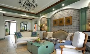 清新复古风96平米客厅装修效果图欣赏