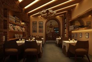 2016复古西餐厅吊顶装修设计效果图
