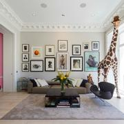 简欧单身公寓客厅照片墙设计效果图