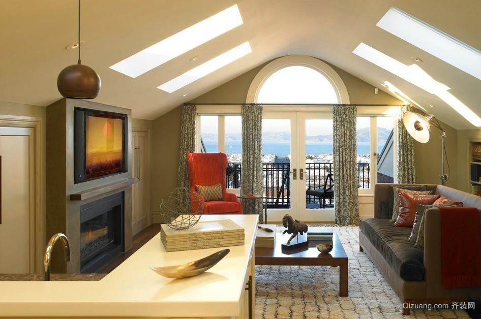 大户型复式楼阁楼小客厅装修效果图大全