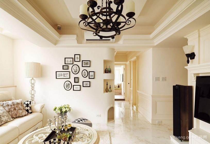 米白色68平米法式家居照片墙设计效果图