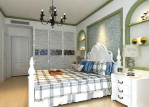 100平米田园风格卧室床头背景墙装修效果图