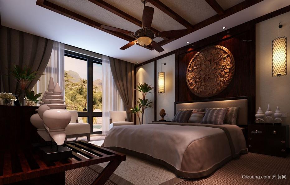 120平米东南亚风格卧室背景墙装修效果图