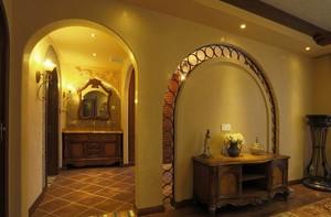三室一厅复古风玄关设计装修效果图