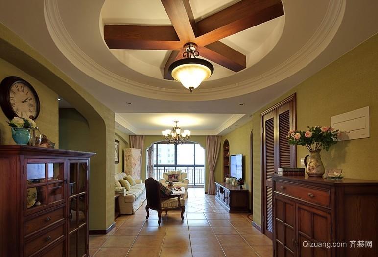 三居室美式风格玄关吊顶设计装修效果图