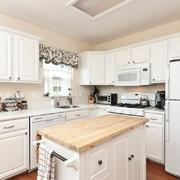 白色韩式风开放式小厨房装修设计效果图