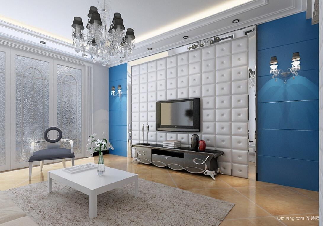 法式风格大户型客厅电视背景墙效果图片