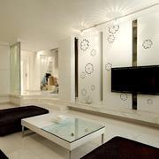 145㎡错层客厅个性电视背景墙效果图片