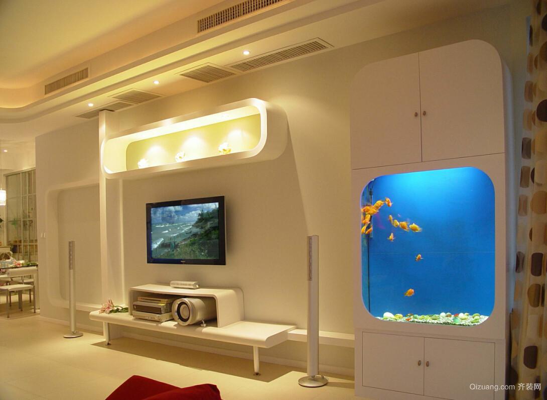 105平米客厅时尚电视背景墙效果图片