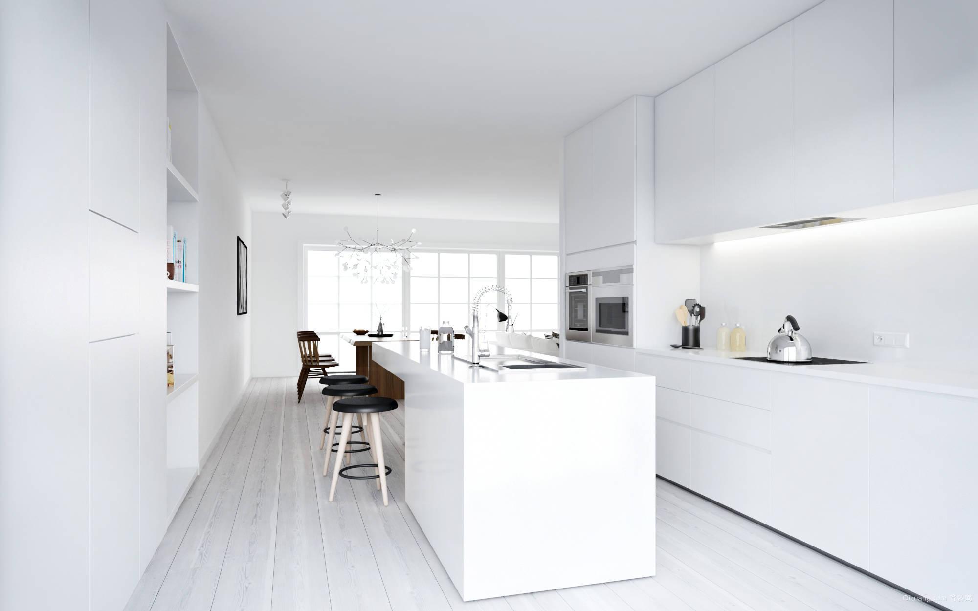 纯净洁白的公寓厨房装修设计效果图