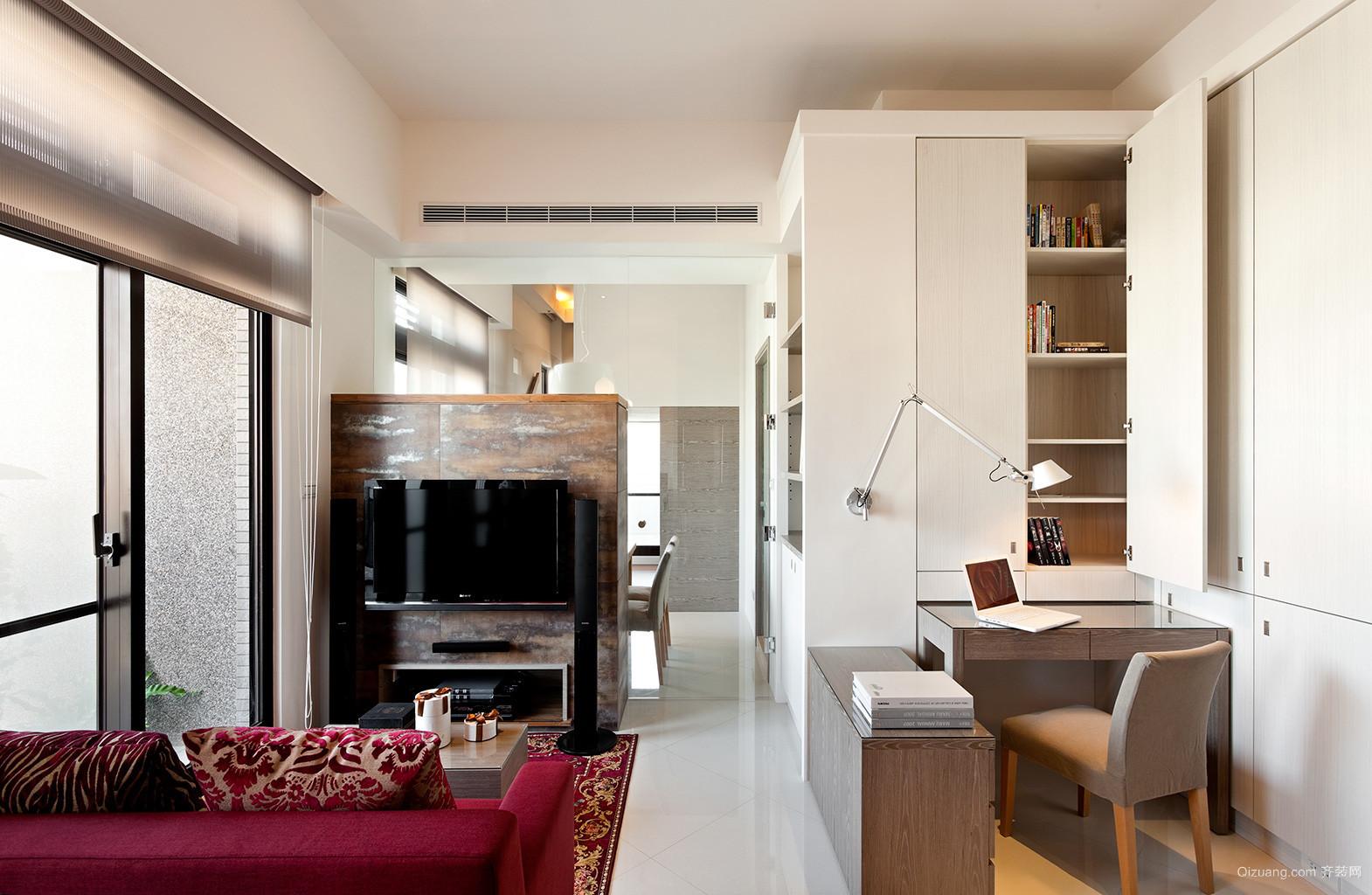 69平米小公寓电视背景墙隔断效果图片