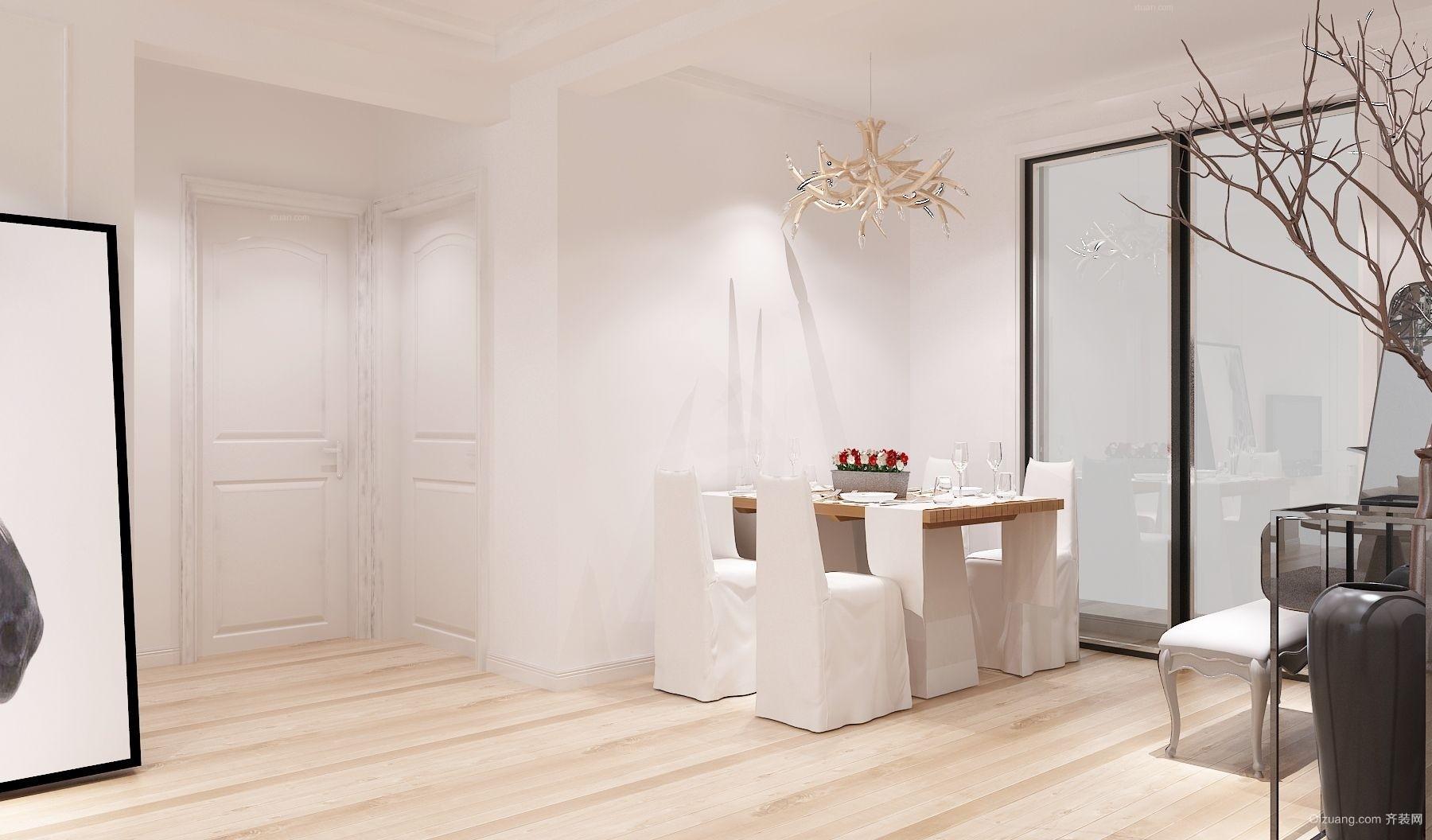 2016白色简约小公寓餐厅设计装修效果图