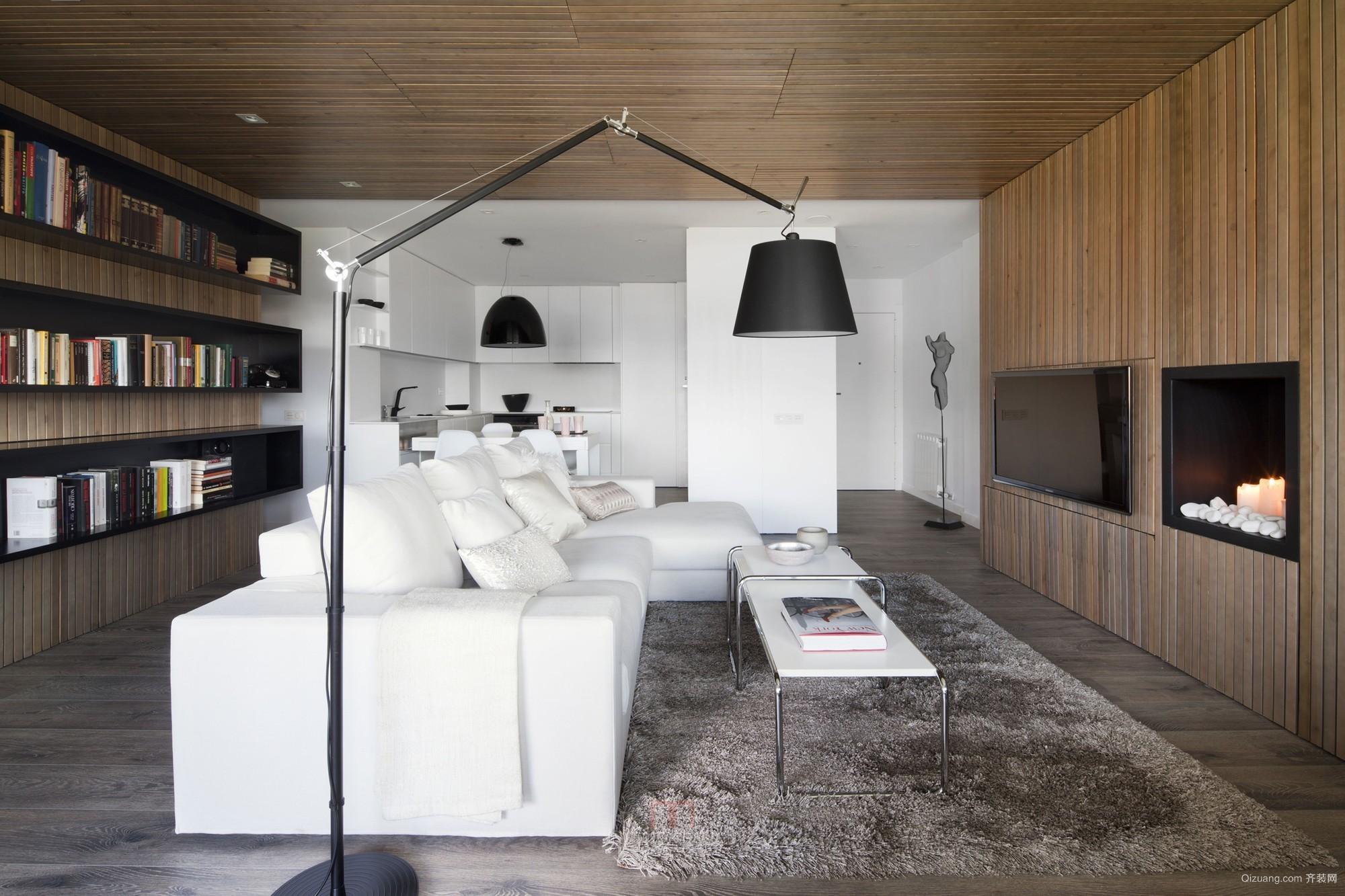 单身公寓个性实木电视背景墙效果图片
