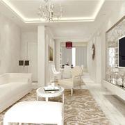 白色简欧风大型客厅电视背景墙效果图片
