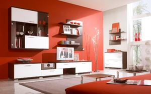 红色靓丽的现代客厅电视背景墙效果图片